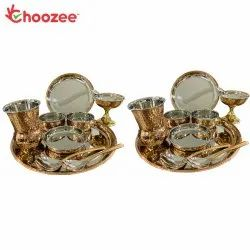 Choozee - Copper Thali Set of 2 (20 Pcs) of Plate, Bowl, Spoon, Matka Glass & Ice-Cream Cup