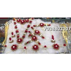 Female Golden Maroon Baby Shower Jewellery full set artificial jewellery