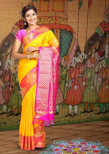 09bf752272 Yellow, Pink ARRS Silks Traditional Kanjivaram Silk Saree, Rs 6000 ...
