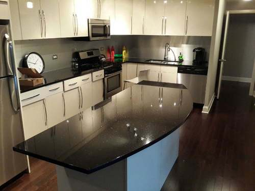 Polished Black Galaxy Granite Kitchen Top Size Cm 180 X 280 Or