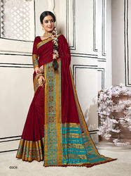 Groovy Maroon Colored Party Wear Chanderi Cotton Saree with Blouse Piece
