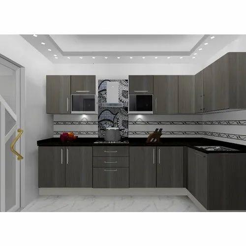 pvc v shaped grey modular kitchen warranty 15 years rs