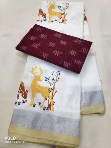 Party Wear Printed Pure Linen Saree, 5.5 M (separate Blouse Piece)