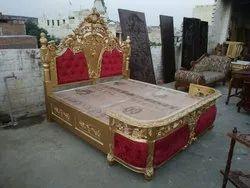 Teakwood Royal Designer King Size Wooden Double Bed, For Home