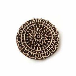 Round Shape Floral Pattern Wooden Henna Stamp
