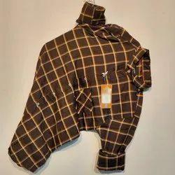 Casual Wear Collar Neck Mens Stylish Cotton Check Shirt, Machine Wash,Hand Wash