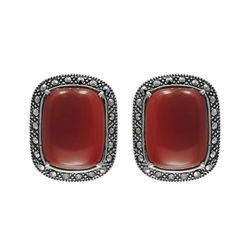 CZ & Red Agate Tops with Red Agate Silver Earring