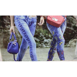 Ladies Blue Fancy Denim Jeans