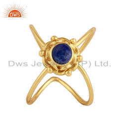 Blue Lapis Lazuli Gemstone Yellow Gold Plated Sterling Silver Ring Jewelry
