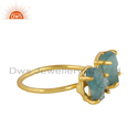 Prong Set Apatite Gemstone Womens Gold Plated 925 Silver Rings
