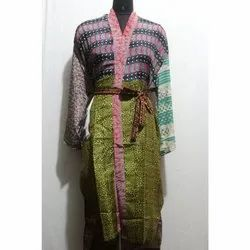 Women's Silk Sari Patchwork Kimono Bath Robe Maxi Sari Gown Dress