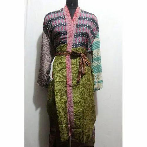 Multicolor Women S Silk Sari Patchwork Kimono Bath Robe Maxi Sari Gown Dress Rs 700 Piece Id 21505044212