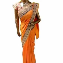 Party Wear Embroidered Pure Silk Embroidery Saree, 5.5 m (separate blouse piece)