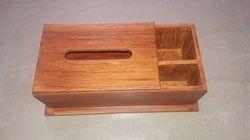 WOODEN TISSUE BOX CUM STATIONARY HOLDER