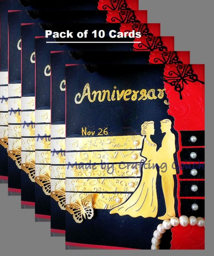Black and red and golden and anniversary invitation card pack of black and red and golden and anniversary invitation card pack of 10 stopboris Gallery