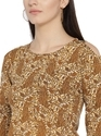 Layered Sleeve Paisley Brown Women Top
