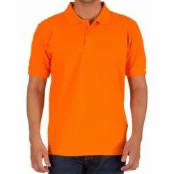Cotton Plain orange collar t-shirts