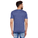 Men Blue Cotton V Neck T-Shirt