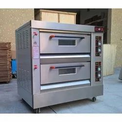 2.4 kW/hr Electric Stainless Steel Double Deck Pizza Oven, Baking Capacity: 4-8 Tray, 220 V