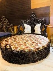 Carving Pillar Teak Wood King Size Round Double Bed