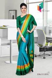 Dark Blue And Green Italian Crepe Silk Office Uniform Saree for Nurse