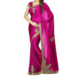 Pink Embroidered Ladies Designer Saree