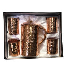 Copper Gift Set Hammered Jug with 4 Glass