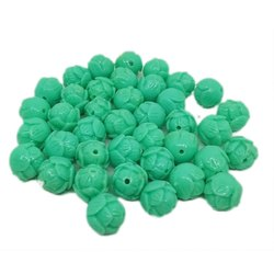 Turquoise Rose Bud Synthetic Coral Beads