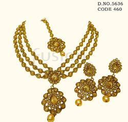 Traditional 3 Line Antique Necklace Set