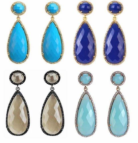 Gemstone Pave Set Teardrop Dangle Earrings