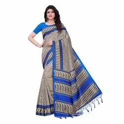 Blue Colored Poly Silk Casual Saree