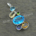 Amethyst Multi Gemstone 925 Silver Jewelry Pendant