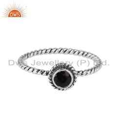 Black Onyx Gemstone Twisted Wire Design Silver Ring