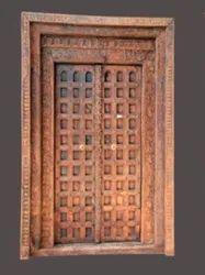 Exterior Brown Antique Rectangular Wooden Door
