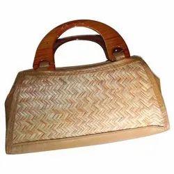 Hand Handled Brown Desiger Cane Shital Pati Handbag