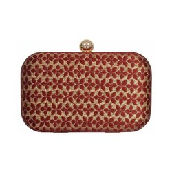 Azzra Red and Golden Silk Evening Box Clutch