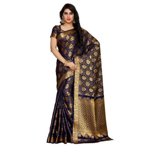 b57c26fada37af Blue 6.2 Mtr Including Blouse Mimosa By Kupinda Women  s Art Silk  Kanchipuram Style Saree