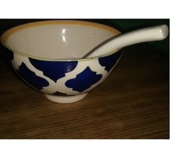 Ceramic Soup Bowl with Spoon
