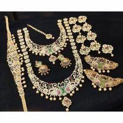 Brass Wedding Golden Imitation Artificial Jewelry Set