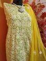 Georgette Yellow And White Printed Chikankari Suit Fabric