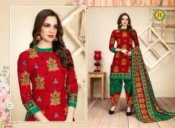 JT Gamthi Payal Special Cotton Unstitched Patiyala Suits, Machine wash