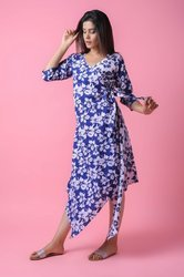 Floral Cotton Slub Printed Evening Maxi Dress