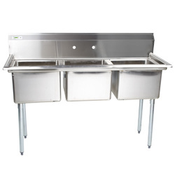 Silver Stainless Steel Three Sink Unit