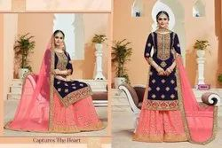 As Shown In Image Georgette Heavy Embroidery Suit