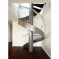 Upto 15 Feet Polished Stainless Steel Spiral Stairs, For Residential & Commercial