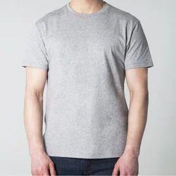 Casual Wear Printed Grey Melange Round Neck T Shirts