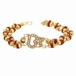Gold Plated Multi Strand , Om Rudraksha Bracelet for Men