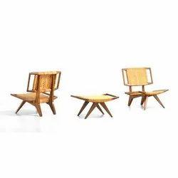 Vivek Furniture Brown Wooden Table Chair Set