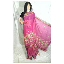 Pink Cotton Embroidery Saree
