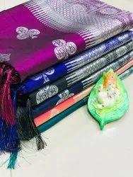 Wedding Wear Woven Pure Lichi Silk Saree With Silver Zari Weaving Work, 5.5 m (Separate Blouse Piece)